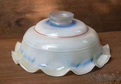 Antik lámpabúra színes fodros szélű tejüveg 24 x 9,5 cm lámpa , csillár búra