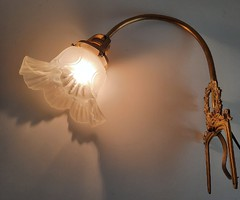Klasszicista kottatartó réz lámpa, fodros üvegbúrával