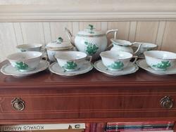 Herendi 6 személyes zöld Apponyi mintás teás készlet,