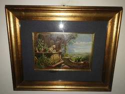 Adriano Bogoni (1896 - 1970) - olasz festőművész eredeti olajfestménye.Gyönyörű alkotás, cca. 1950.