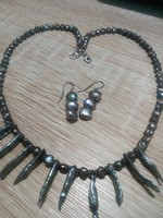 New! Unique rare South Sea spiked set (khaki) with silver fittings