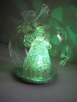 Színváltós LED-es karácsonyi üveggömb angyallal