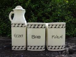 Fekete-fehér fűszertartó, eczet, kávé, bab