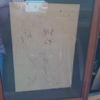 Szàsz Endre portré rajza, ajànlàssal