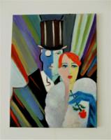 Art deco olaj festmény