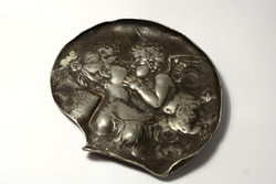 Cupid and psyche Art Nouveau silver plated tin 10x8,5cm small sculpture bowl plaque   wmf