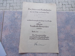 WW2, German Nazi document, original certificate