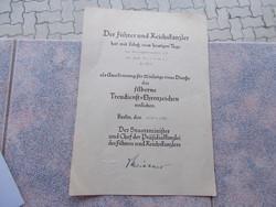 WW2,Német náci dokumentum,eredeti tanusitvány