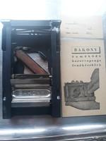 Retro / vintage Bakony razor blade sharpener (1957) with Orosháza dealer sign