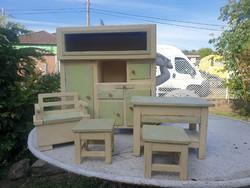 Antique exam work - large kitchen furniture set, baby furniture, a real curiosity!