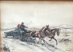 Etching on horseback 27x37 cm