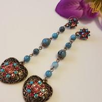 Crystal party earrings 6 cm.