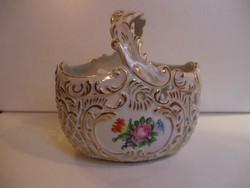 Herend, bouquet de tulipe (bt) baroque style hand-painted porcelain basket, flawless! (P087)