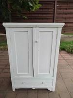 Old white wardrobe, closet, baby furniture