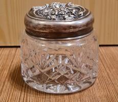 Ezüst bieder bonbonier, cukortartó, kis üveg tartó