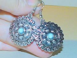 Blue lace agate Tibetan silver amulet earrings