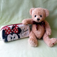 Disney minnie toiletries, bag, pen holder and teddy bear, teddy bear (2 pcs)