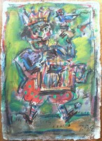 Tóth Ernő - Kalitkás király 62 x 45 cm olaj, merített papír