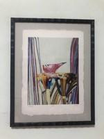 Földi Péter (1949- ) Munkácsy díjas művész 'Madár' 3/10 kis példányszám keretezett méret:35 x 45 cm.