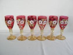 Színes üveg likőrös talpas pohár pohárkészlet