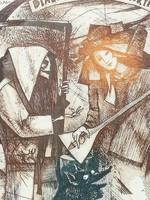 Joseph Varga Bencsik etching: dialogue