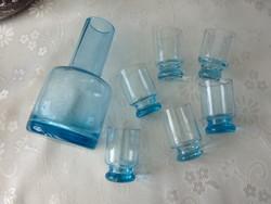 Régi kék üveg röviditalos készlet, butélia 6 db pohárral