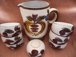 Hand painted scandinavian ceramic wine set