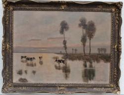 Olgyai Ferenc (1872-1939) Tehenek a vízparton