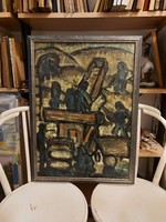 Gyula Hincz signed, vacuum restored painting, oil on canvas, 50x70 cm + frame