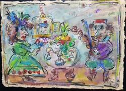 Tóth Ernő - Szerenád 44 x 62 cm olaj, merített papír