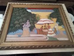 Régi olaj festmény, farostra festve.