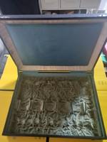 Silver object storage vintage wooden box, cassette (29x39 cm)