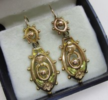 Beautiful antique long 18kt gold earrings