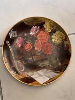 Álomszép gyűjtői rózsás porcelán dísztányér Bradex.