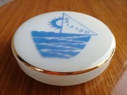 Milk glass box, pixis, bowl with Balaton inscription