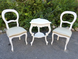 2 neo-baroque chairs, small table.