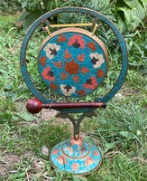 Chinese asian handicraft fire enamel copper table gong sculpture figurine china japanese asia
