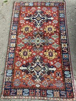 Antique old handcrafted wonderful wool rug tapestry