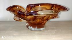 Csodaszép bohémia üvegtál kínáló asztalközép