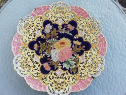 Antique zsolnay openwork floral wall bowl, 40cm