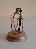 Art deco double bass copper wire figure on wooden base, sculpture