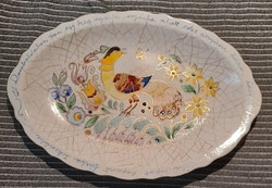 Old porcelain, hand-painted porcelain serving bowl