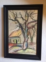 János Nyergesi watercolor, original, 1930, framed