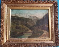 Biedermeier landscape: mountains by train