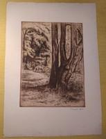 Gyula Komjáti-Vanyerka (1894-1958) - etching - 29 x 39 cm.