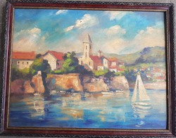 Béla Iványi grünwald: waterfront with sailboat and houses