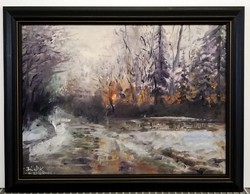 Judge Conrad - winter sunset at the lookout (30x40, oil, with frame)