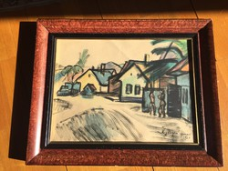 János Nyergesi watercolor, 1930, original, framed
