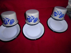 3 pcs enamel cups and saucers - the price applies to the whole