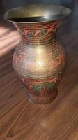 Patterned copper vase - 19 cm